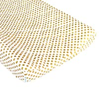 Metallic Gold Dots Quilted Changing Pad Cover - Fits Standard Contoured Chang...