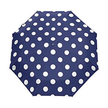 Color blanco lunares paraguas automático paraguas poliéster Pongee