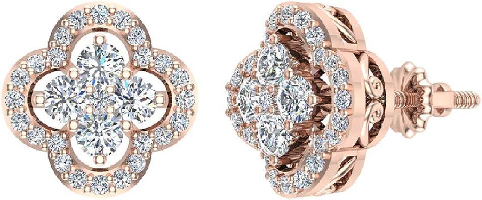 Amazon Com 14k Rose Gold Diamond Earrings Loop Style Flower Cluster Screw Back J I1 Jewelry