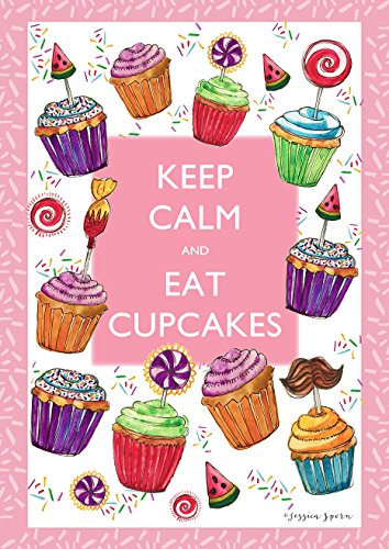 eep Calm and Eat Cupcakes 12.5 x 18 Inch Decorative Party Sprinkles Pink Garden Flag ()