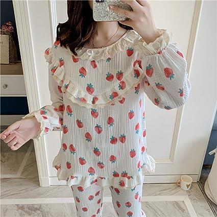 Pijamas Conjunto de algodón de otoño para Mujer Conjunto de ...