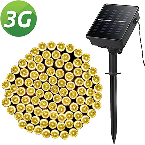 Solar String Lights, Outdoor String Lights, Lellel 3rd Gen Super Bright LED String Lights, Great for Yard Patio Garden Tree Party Wedding Decoration, Warm White with 8 Working (Mini Solar Lights)