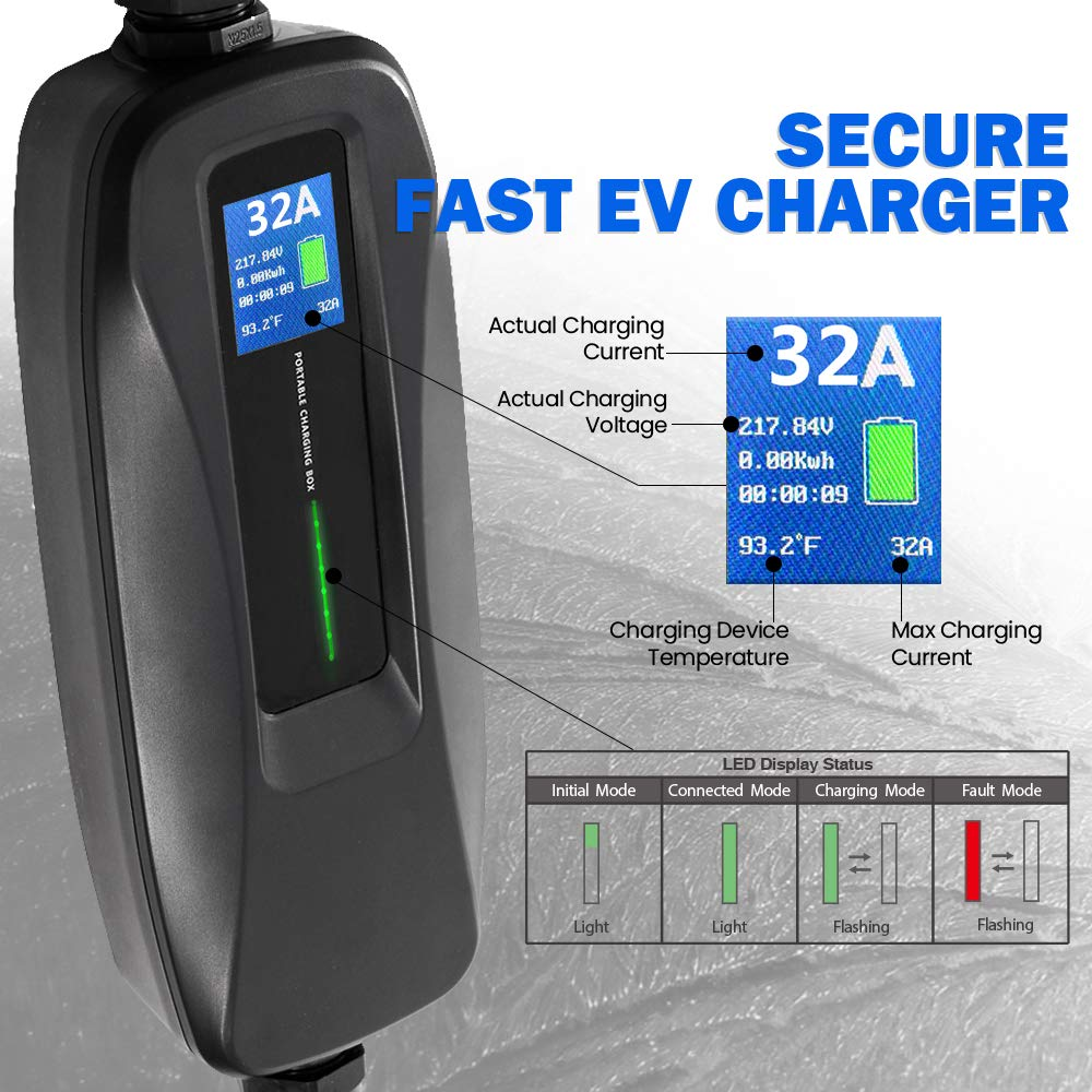 Morec EV Charger Level 2 32 Amp Upgraded Portable Electric Vehicle Charger EV Charging Cable NEMA 6-50 220V-240V 26ft 7.9M SAE J1772 Compatible with Most Electric Cars