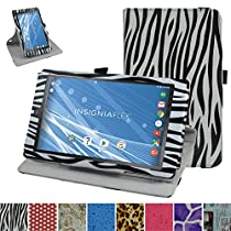 "Insignia NS-P08A7100 Rotating Case,Mama Mouth 360 Degree Rotary Stand With Cute Lovely Pattern Cover For 8"" Insignia Flex NS-P08A7100 Andriod 6.0 Tablet 2016,Zebra Black"