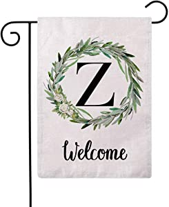 ULOVE LOVE YOURSELF Welcome Decorative Garden Flags with Letter Z/Olive Wreath Double Sided House Yard Patio Outdoor Garden Flags Small Garden Flag 12.5×18 Inch