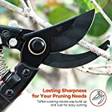 Garden Shears, TaoTronics Professional 8'' Pruning Shears Kits, Garden Clippers Tree Trimmers Bypass Hand Pruners with Carbon Steel Blades and Safety Lock for Garden and Lawn (2 Sets)