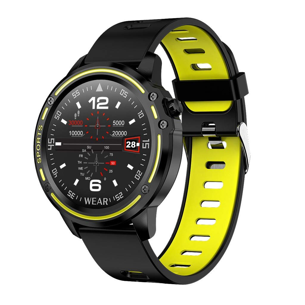 Matoen Men Sport Fitness Smart Watch Message Reminder Tracker Heart Rate Step Calorie Sleep Sedentary Monitor Waterproof Smartwatch (Yellow)
