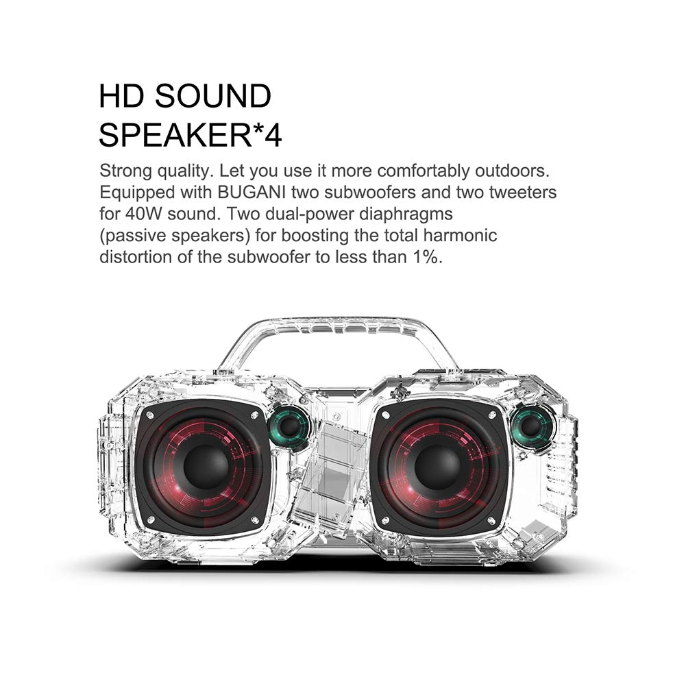 Bluetooth Speakers, Waterproof Outdoor Speakers Bluetooth 5.0,40W Wireless Stereo Pairing Booming Bass Speaker,2400 Minutes Playtime with 8000mAh Power Bank, Durable for Home Party,Camping(Black) by BUGANI (Image #5)