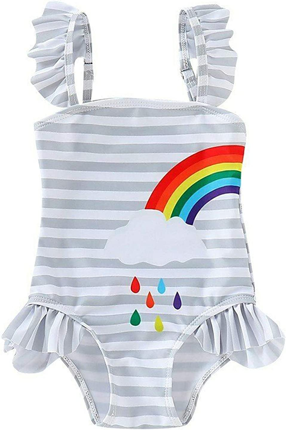 stylesilove Little Girls Striped Ruffle One Shoulder One-Piece Swimsuit with Hat 2 Pieces Set