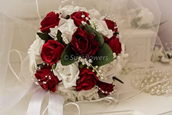 Wedding Flowers Bridesmaid Bouquet In White And Red Amazon