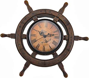 Things2Die4 11.5 Inch Master of Destiny Ship Wheel Wall Clock Nautical Decor Coastal Beach Home Accent