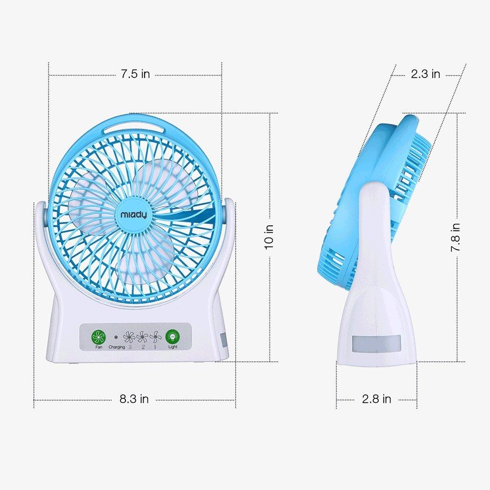 Miady 7.5-inch Rechargeable Personal Desk Fan USB Fan 4000mAh ...