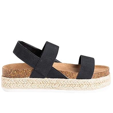 e1ffbf5a676df Amazon.com | Coutgo Womens Espadrille Platform Flat Strappy Sandals ...