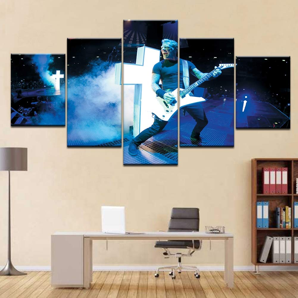 XLST HD de laffiche Moderne Imprime Salon 5 Pi/èces Metallica Band Concertd/écoration Peinture