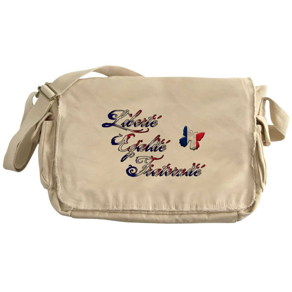 Liberte Egalite Fraternite Truly Teague Khaki Messenger Bag France Motto