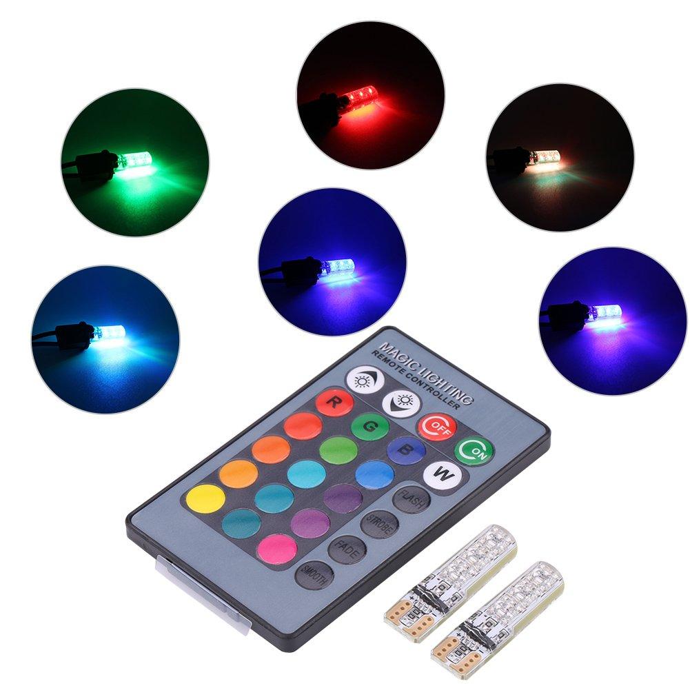 Qiilu 2pz T10 6SMD 5050 RGB LED Larghezza Luce Interna Lampada con Telecnmando