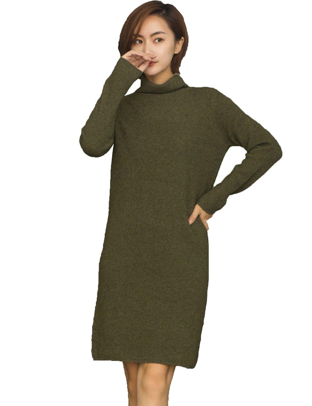 (茜欧莉) solely レディース 長袖 カシミア生地 ニットタートルネック ワンピース 18J9936 (緑 灰色 ベージュ) B074W8CKH6 XL|グリーン グリーン XL