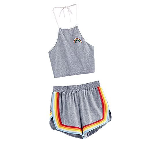12e206b8c44 Amazon.com  Hengshikeji Clearance Women 1Set Crop Top and Shorts Romper  Jumpsuits Playsuits Sleeveless Bodysuits Teen Girls for Summer  Clothing