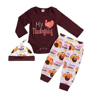 018c6e27354 Mini honey Newborn Baby Boys Girls My First Thanksgiving Long Sleeve Romper  Bodysuit+Turkey Pant