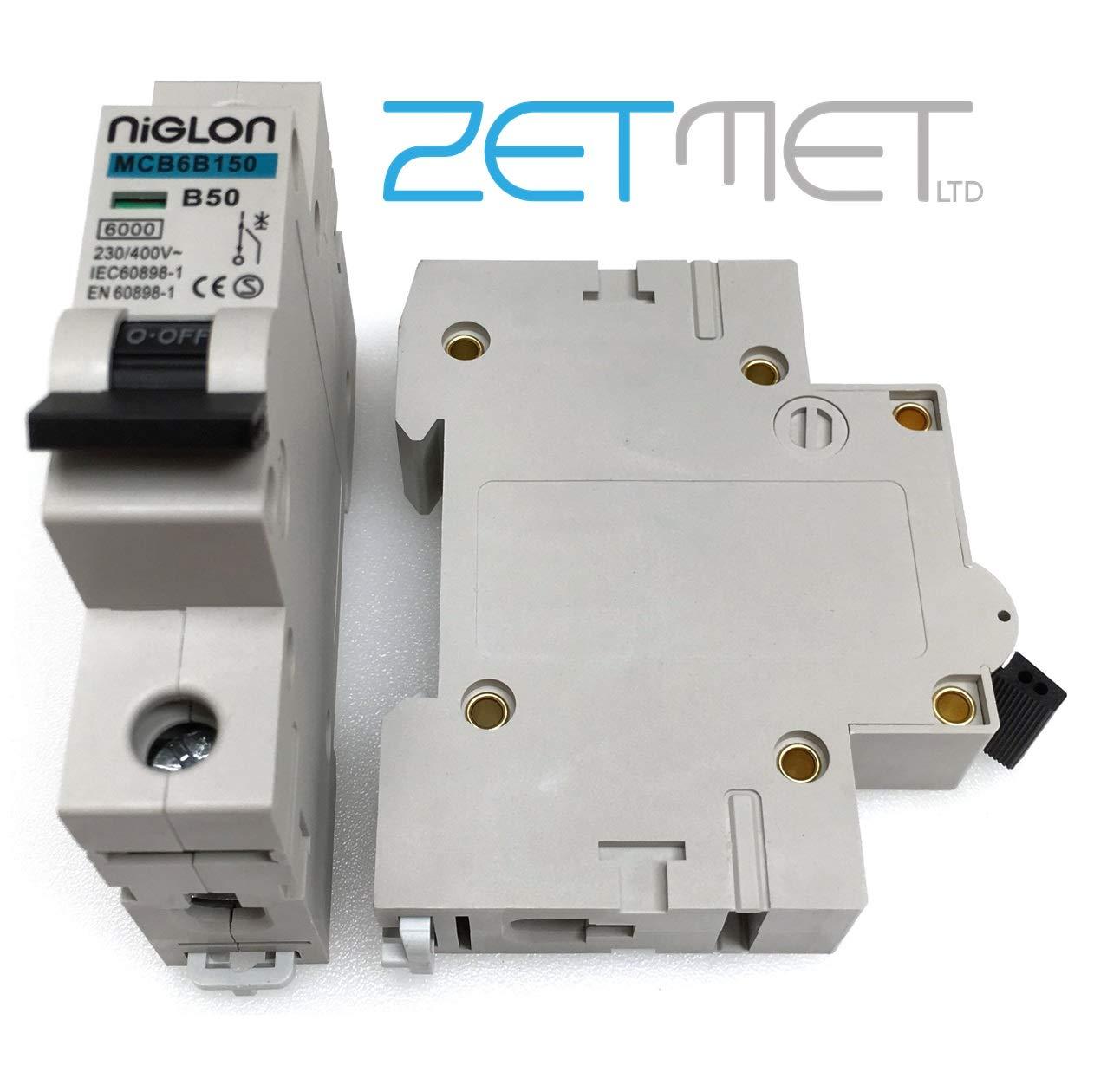 Niglon MCB6B150 50 Amp Type B Single Pole 6kA 230V Circuit Breaker MCB