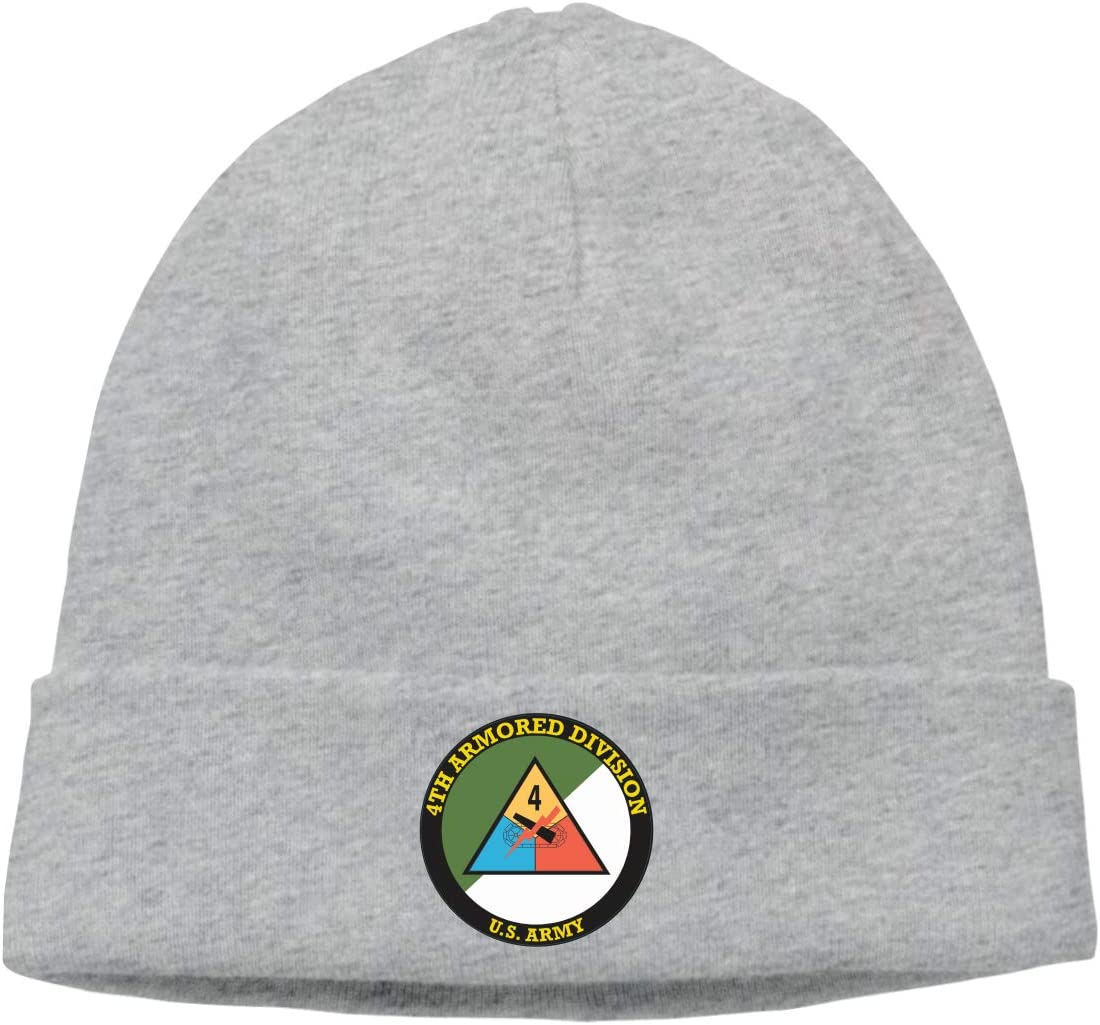 Army 4th Armored Division Warm Stretchy Solid Daily Skull Cap,Knit Wool Beanie Hat Black