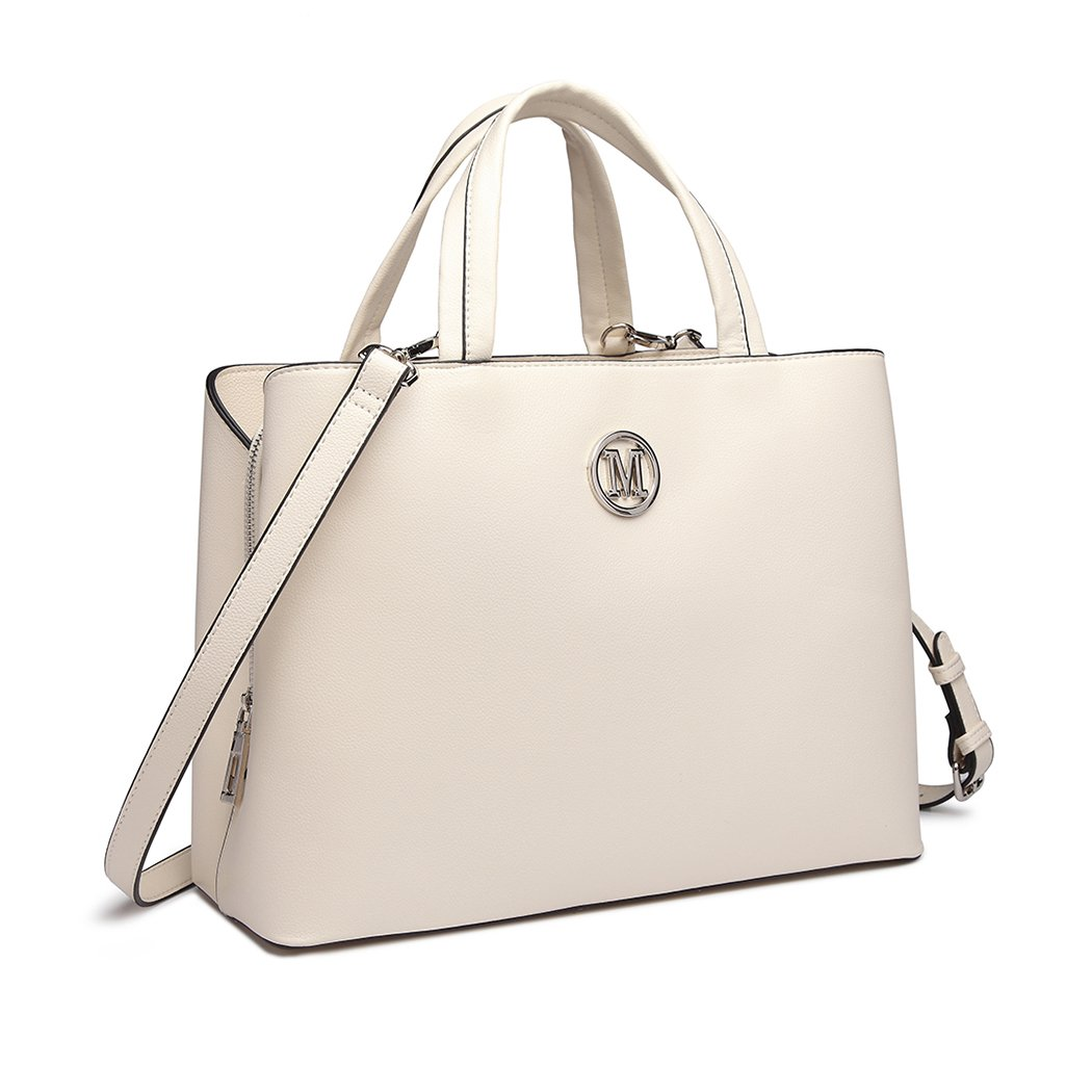 7299d8b11956 Miss Lulu Quality Women Top Handle Bag Multi-Compartment Zipper Handbags  with Magnetic Closure Shoulder Bag Crossbody Handbags (Beige)   Amazon.co.uk  Shoes ...