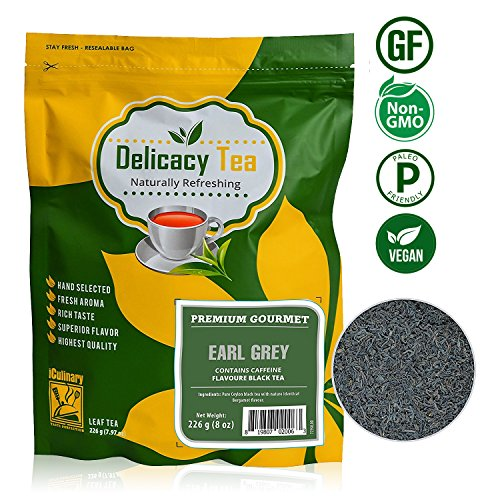 Gourmet Premium Grade Loose Leaf Earl Grey Delicacy Black Tea, Makes 100 Cups of Complex, Full-Bodied, Delicious Tea, Natural & Pure Ceylon Leaf with Bergamot Flavor from iCulinary, Zipper Pouch, 8oz (Traditional 8 Light Pot)