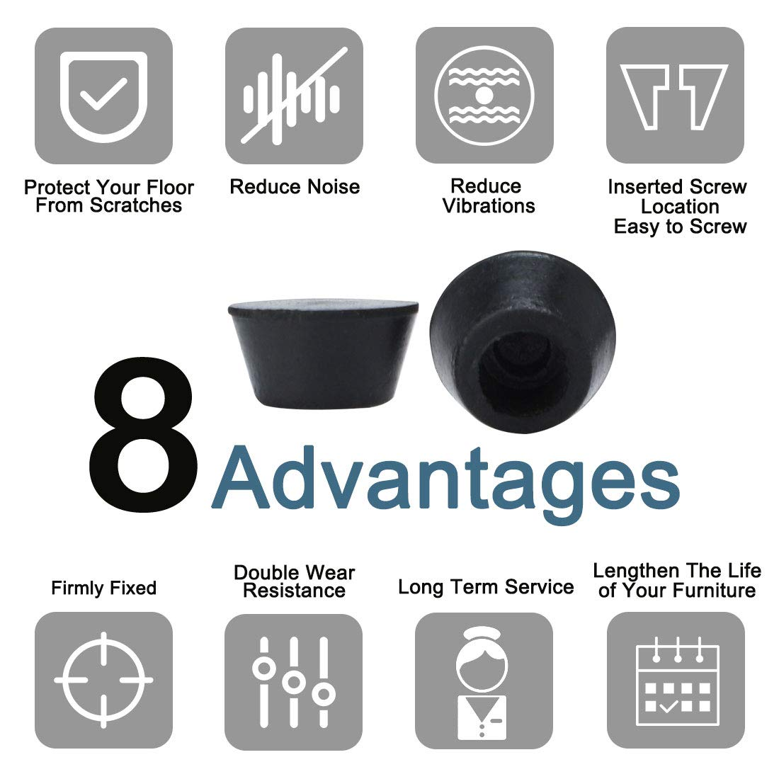 10 Pcs 14mm x 8mm Conical Recessed Rubber Feet Bumpers Covers