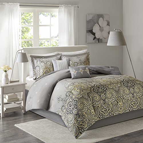 Comfort Spaces - Alissa Cotton printed Comforter Set - 6 Piece - Yellow and Grey - Paisley Print - Queen Size, includes 1 Comforter, 2 Shams, 1 Bedskirt, 2 Decorative Pillows (Yellow Paisley Bedding)