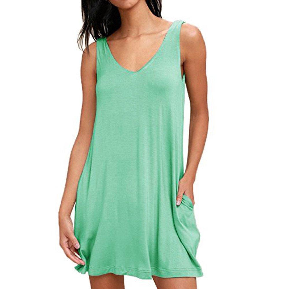 Women Summer Sexy Solid V-Neck Sleeveless Pocket Mini Dress