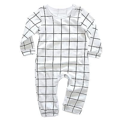 59c55a0d12a2 Winsummer Newborn Baby Unisex Long Sleeve Letter Print Plaid Romper ...