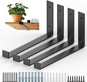 12 Inch Shelf Bracket 4 Pack Heavy Duty Wall Shelf Brackets with Lip, Metal J Shelf Brackets with Hardware for DIY Open Shelving (12 inch (Actual 11.25 inch))