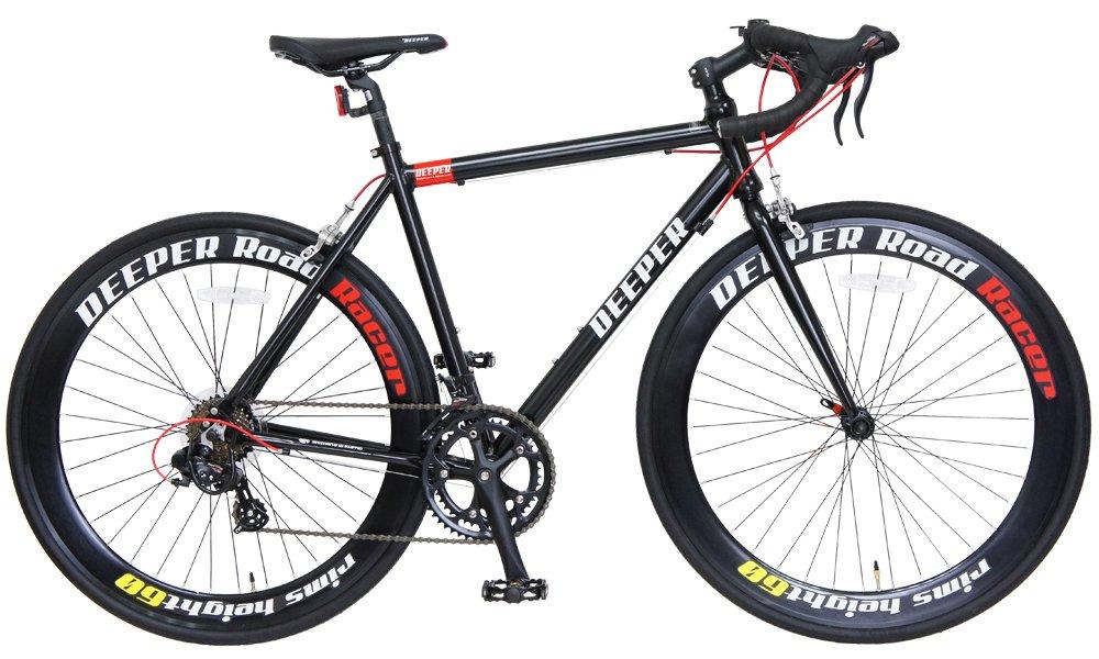DEEPER(ディーパー) 700×26C ロードバイク 530mm シマノ14段変速 アルミフレーム LEDライト装備 DE-7053 ブラック×レッド B06XXQRJQQ