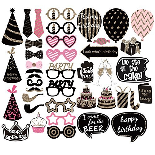 PBPBOX Birthday Photo Booth Props Party Favor Kit - 41 Count -