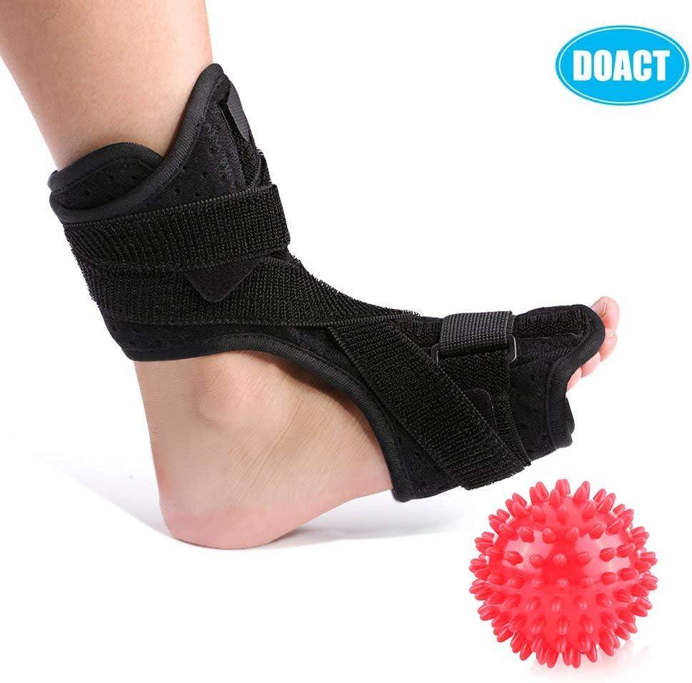 DOACT® Férulas nocturnas para la fascitis plantar para el aparato ortopédico para la caída del pie y un rodillo de bolas de masaje de punta dura para mujeres y hombres que due