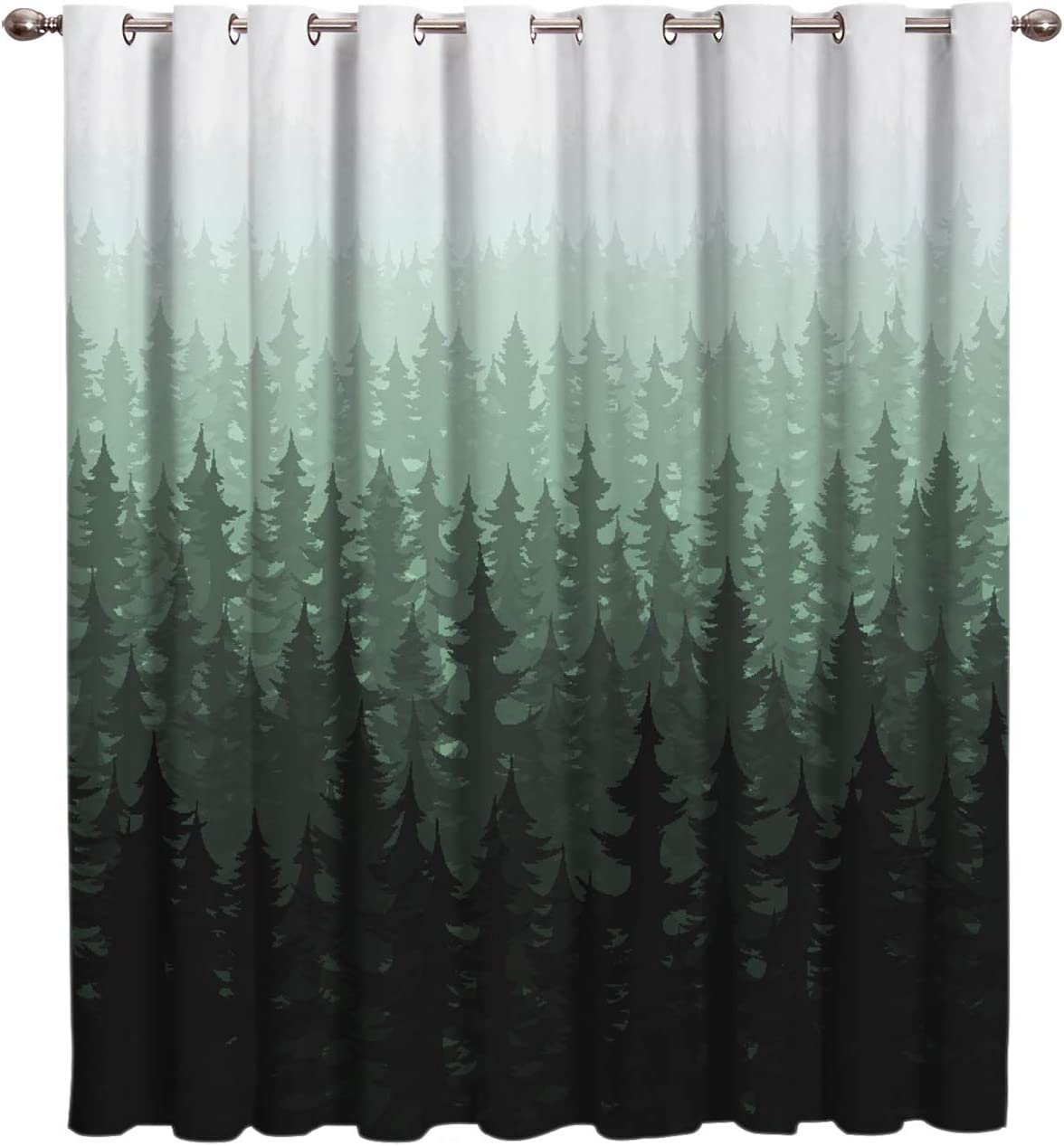 Nature Forest Landscape Decor Window Curtain Drapes Treatment Kitchen Blackout Curtains, Curtains and Drapes for Kitchen Cafe Office, Watercolor Style Fir Pine Trees Fogged Scene 52''W x 63''L
