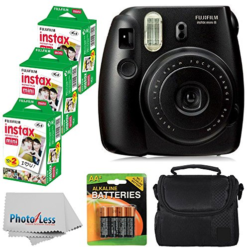 Fujifilm Instax Mini 8 Instant Film Camera (Black) With Fujifilm Instax Mini 6 Pack Instant Film (60 Shots) + Compact Bag Case + Batteries Top Kit - International Version (No Warranty) by Fujifilm