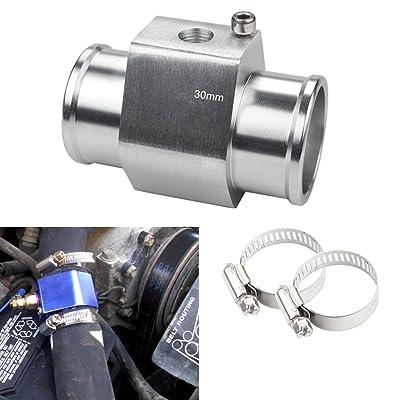 Dewhel Aluminum Silver Water Temp Meter Temperature Gauge Joint Pipe Radiator Sensor Adaptor Clamps 30mm: Automotive