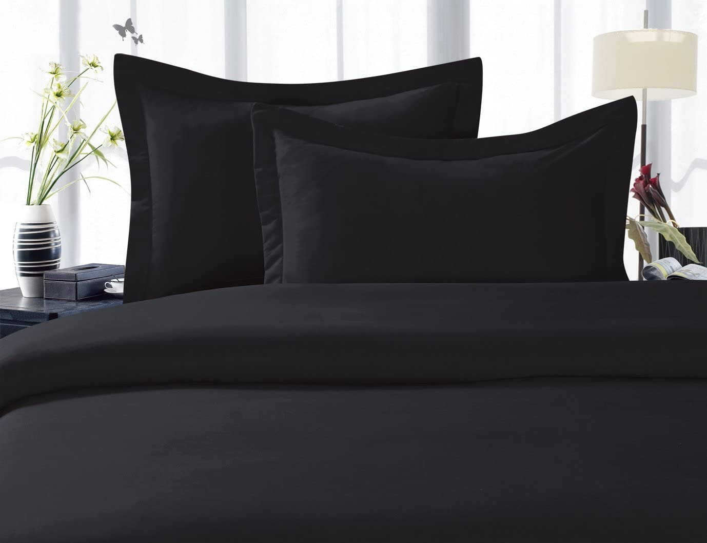 Elegant Comfort Luxury Soft 1500 Thread Count Egyptian 4-Piece Premium Hotel Quality Wrinkle and Fade Resistant Coziest Bedding Set, Easy All Around Elastic Fitted Sheet, Deep Pocket up to 16inch, Full, Black