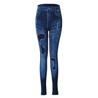 bd96e108e591c Ezclassy Women's Denim Print Jeans Seamless Leggings Yoga Pants Stretchy  Jeggings (Style ...