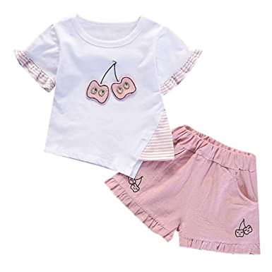 Baby Toddler Girls Summer Shorts Outfits 2-7 Years Old Kids Cherry Printing Shirt Tops and Short Pants Set