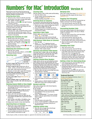 Numbers for Mac Quick Reference Guide, version 4 Introduction (Cheat Sheet of Instructions, Tips & Shortcuts - Laminated Card)
