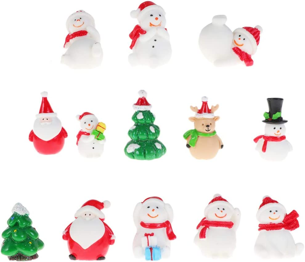 Happyyami 13pcs Miniature Christmas Xmas Tree Snowman Santa Claus Reindeer Figurines Ornaments Fairy Garden Dollhouse Decoration Christmas DIY Crafts Keychain Charms Pendents Random Color Random Style