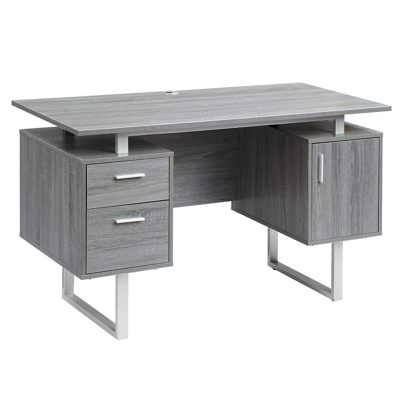Techni Mobili RTA-7002-GRY Modern Office Desk with Storage, Gray by Techni Mobili
