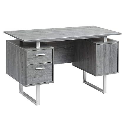 Elegant Amazon.com: Techni Mobili RTA 7002 GRY Modern Office Desk With Storage,  Gray: Kitchen U0026 Dining