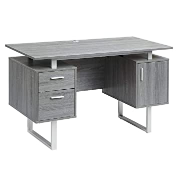 Pleasant Techni Mobili Rta 7002 Gry Modern Office Desk With Storage Gray Download Free Architecture Designs Grimeyleaguecom