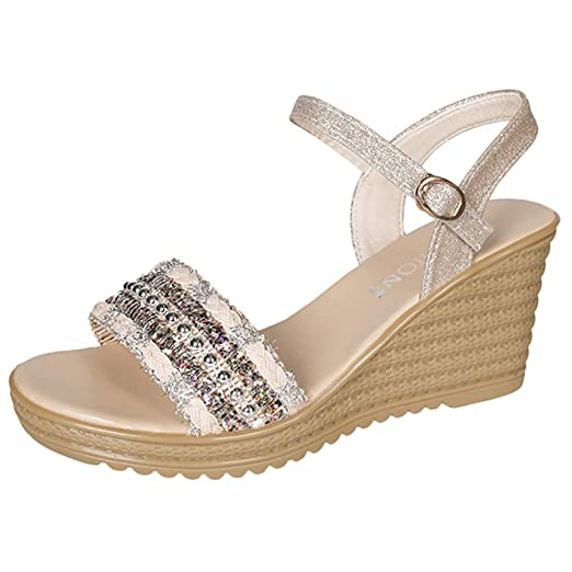 72acb32ab710f Amazon.com: Women's Wedge Ankle Strap Sandals,Ladies Casual Summer ...