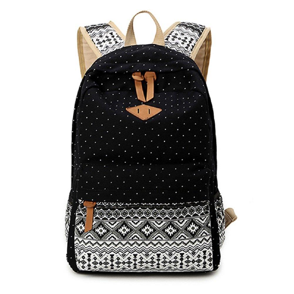 Canvas bag Folk-custom backpack Student bag Outdoor sports bag for woman Black