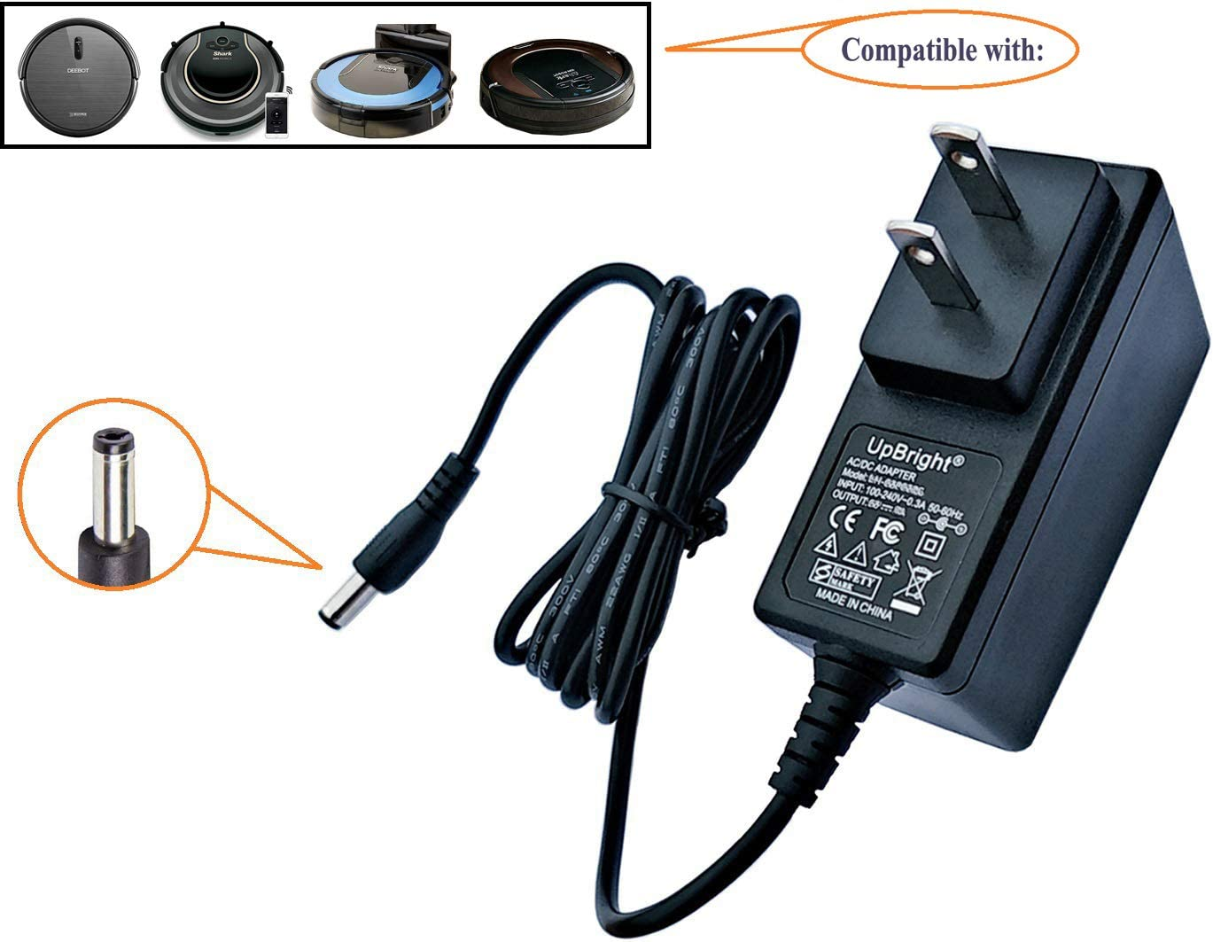UpBright 19V AC/DC Adapter Compatible with Shark Ion Robot RV700 RV720 RV725 N RV750 R850 RV852 Vacuum DK18-190060H-U Ecovacs DN622 Deebot N79 S Pro DN79 Eufy RoboVac 11 T2102 Pyle PUCRC25 Charger