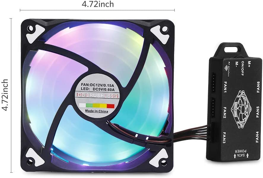 RGB Case Fan 3 Packs Adjustable Colorful Cooling Fan ARCHEER Computer Case Fan LED 120mm Cooling Case Fan Kit Reinforced Quiet Fan Blade Design
